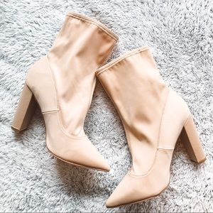 ASOS Nude Basically Wide Fit Pointed Sock Boots